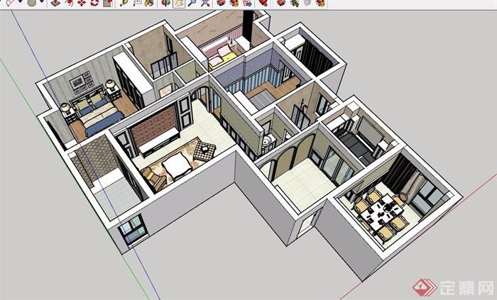 某现代风格详细的住宅室内装饰su模型