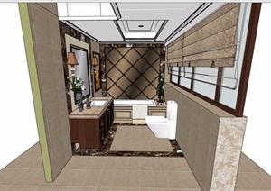 现代详细的室内卫生间空间SU(草图大师)模型