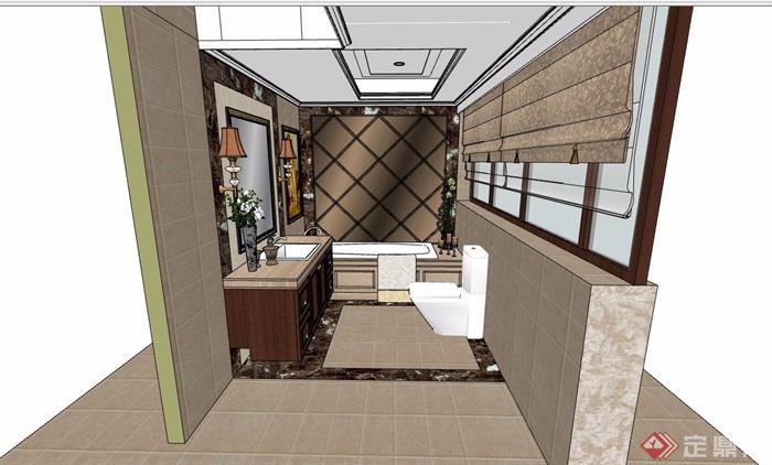 现代详细的室内卫生间空间su模型