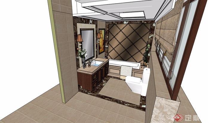 現代詳細的室內衛生間空間su模型