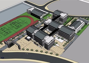 中式风格多层学校教育建筑楼SU(草图大师)模型