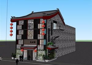 中式风格详细的多层美术馆建筑设计SU(草图大师)模型