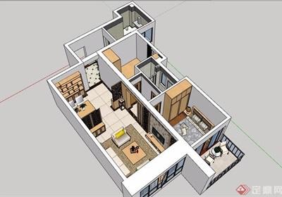 現代風格詳細的完整住宅室內裝飾su模型