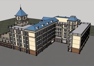欧式风格详细的经典完整学校教育建筑楼SU(草图大师)模型