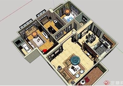 欧式风格详细的住宅室内空间3d模型