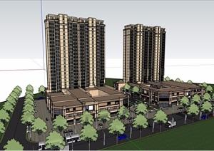某现代风格详细的完整商业住宅建筑楼设计SU(草图大师)模型