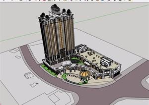 欧式风格详细的经典完整酒店建筑设计SU(草图大师)模型
