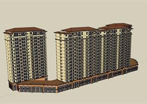 欧式风格详细的经典完整商业住宅楼SU(草图大师)模型