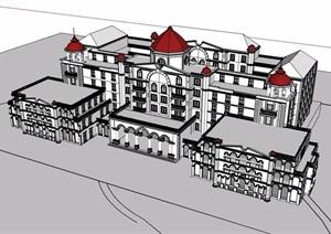 欧式风格详细的完整多层酒店设计SU(草图大师)模型