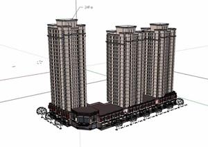 新古典风格详细的商业高层居住楼设计SU(草图大师)模型