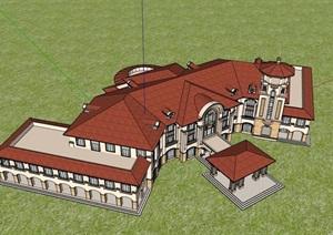 三层欧式风格详细的经典完整酒店设计SU(草图大师)模型