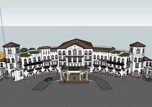 三层西班牙风格详细的完整酒店设计SU(草图大师)模型