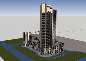 欧式风格详细的独特完整高层酒店SU(草图大师)模型