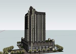 新古典风格详细的星级酒店SU(草图大师)模型
