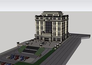 某新古典风格详细的多层酒店完整设计SU(草图大师)模型