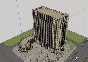 新古典风格详细的完整酒店建筑设计SU(草图大师)模型
