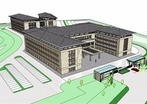 欧式风格详细的整体完整多层学校教育建筑SU(草图大师)模型