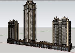 欧式风格详细的商业住宅楼设计SU(草图大师)模型