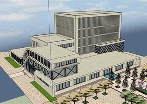 某现代风格详细的整体完整的办公楼建筑SU(草图大师)模型