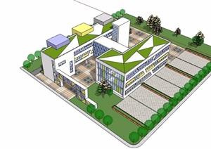 现代风格详细的完整学校教育建筑楼设计SU(草图大师)模型