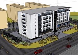 现代风格详细的多层办公楼建筑SU(草图大师)模型