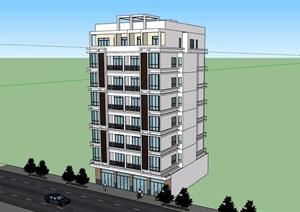 现代风格街边商业住宅楼SU(草图大师)模型