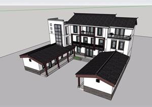 中式风格多层详细的政府办公楼设计SU(草图大师)模型
