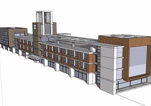 现代风格三层办公建筑楼设计SU(草图大师)模型