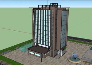 详细的完整高层办公建筑楼设计SU(草图大师)模型