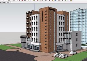 现代风格详细的完整办公建筑楼设计SU(草图大师)模型