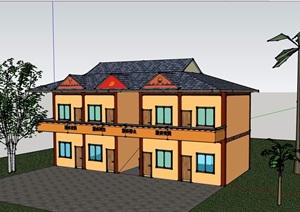 两层欧式风格乡村政府办公建筑设计SU(草图大师)模型