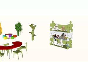 幼儿园教室内各类摆件桌椅书架装饰品等SU(草图大师)模型