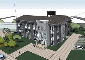 中式风格详细的多层办公建筑楼设计SU(草图大师)模型