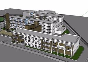 某现代风格详细的多层学校教育建筑楼设计SU(草图大师)模型