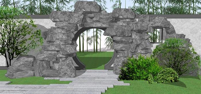 石头拱门中式门洞景观su模型(1)