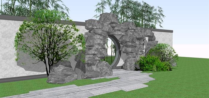 石头拱门中式门洞景观su模型(2)
