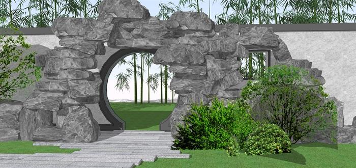 石头拱门中式门洞景观su模型(3)