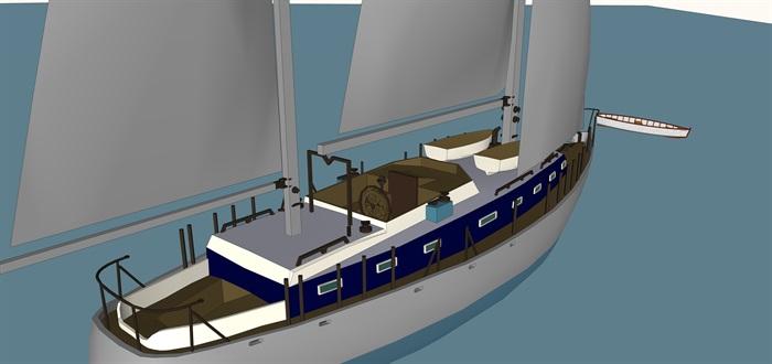 游艇帆船精细精品模型su(2)