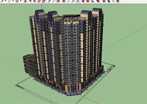 现代风格详细的商业高层住宅楼建筑设计SU(草图大师)模型