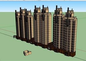新古典风格详细的完整商业住宅楼设计SU(草图大师)模型