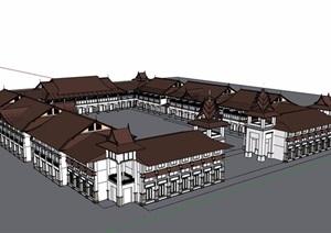 东南亚风格详细的多层酒店完整设计SU(草图大师)模型