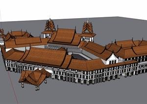 东南亚风格详细的独特多层酒店设计SU(草图大师)模型