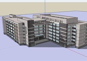 现代多层完整的教学楼完整建筑设计SU(草图大师)模型