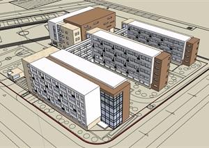 现代风格详细带我安装教育建筑楼设计SU(草图大师)模型