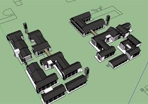 中式风格详细的完整商业中心完整建筑设计SU(草图大师)模型