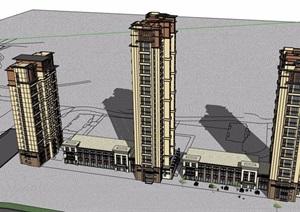 新古典风格详细的完整多层商业住宅楼设计SU(草图大师)模型