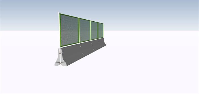 高速公路铁丝网护栏SU模型(2)