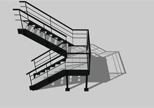 工业风旋转楼梯SU(草图大师)模型