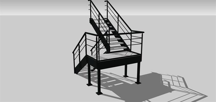 工业旋转楼梯SU模型(2)
