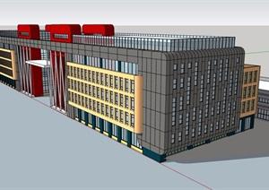 现代风格详细的完整多层商业中心建筑SU(草图大师)模型